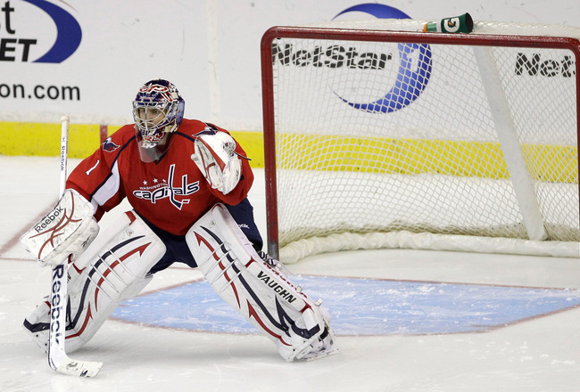 WASHINGTON, DC - MARCH 29:  Goalie Semyon Varlamov #1 of the Washington Capitals against the Carolina Hurricanes at the Verizon Center on March 29, 2011 in Washington, DC.  (Photo by Rob Carr/Getty Images)