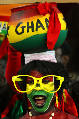 JOHANNESBURG, SOUTH AFRICA - JULY 02:  A Ghana fan enjoys the atmosphere prior to the 2010 FIFA World Cup South Africa Quarter Final match between Uruguay and Ghana at the Soccer City stadium on July 2, 2010 in Johannesburg, South Africa.  (Photo by Camer