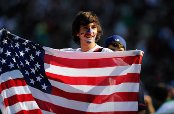 PASADENA, CA - JUNE 25:  Fans of  United States during the 2011 CONCACAF Gold Cup Championship soccer match against Mexico at the Rose Bowl on June 25, 2011 in Pasadena, California.  (Photo by Kevork Djansezian/Getty Images)