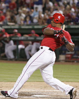 ARLINGTON, TX - JULY 3: Adrian Beltre #29 of the Texas Rangers breaks his bat in the eighth inning against the Florida Marlins at Rangers Ballpark in Arlington on July 3, 2011 in Arlington, Texas. (Photo by Rick Yeatts/Getty Images)