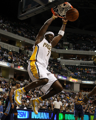 INDIANAPOLIS - NOVEMBER 10:   Jermaine O'Neal #7 dunks the ball during the NBA game against the Denver Nuggets at Conseco Fieldhouse November 10, 2007 in Indianapolis, Indiana. The Nuggets won 113-106. NOTE TO USER: User expressly acknowledges and agrees