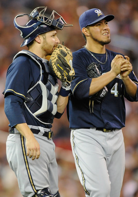 MINNEAPOLIS, MN - JULY 1: Jonathan Lucroy #20 and Yovani Gallardo #49 of the Milwaukee Brewers speak during the fifth inning of the game against the Minnesota Twins on July 1, 2011 at Target Field in Minneapolis, Minnesota. The Twins defeated the Brewers