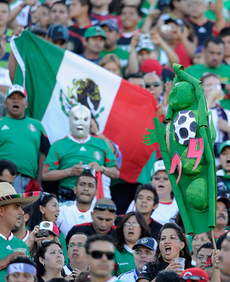 PASADENA, CA - JUNE 25:  A fan holds a 'Chicharito' (Little pea) sign, the nickname of Javier Hernandez #14 of Mexico during the 2011 CONCACAF Gold Cup Championship against United States at the Rose Bowl on June 25, 2011 in Pasadena, California.  (Photo b