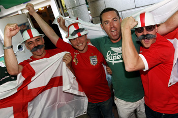 FRANKFURT AM MAIN, GERMANY - JUNE 27:  Supporters of England pose before a public viewing of the 2010 FIFA Word Cup round of sixteen match between Germany and England at the 'Fox and Hound' English pub on June 27, 2010 in Frankfurt am Main, Germany.  (Pho