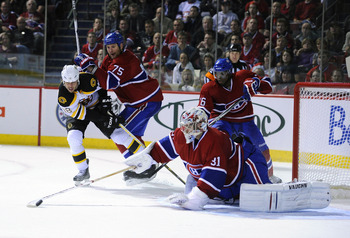 Defenders Hall Gill, PK Subban and goaltender Carey Price