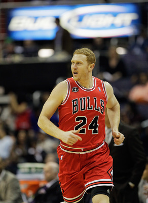 WASHINGTON, DC - FEBRUARY 28: Brian Scalabrine #24 of the Chicago Bulls against the Washington Wizards at the Verizon Center in Washington on February 28, 2011 in Washington, DC. NOTE TO USER: User expressly acknowledges and agrees that, by downloading an