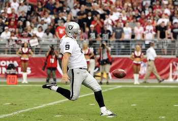 GLENDALE, AZ - SEPTEMBER 26:  Punter Shane Lechler #9 of the Oakland Raiders kicks the ball during the NFL game against the Arizona Cardinals at the University of Phoenix Stadium on September 26, 2010 in Glendale, Arizona.  The Cardinals defeated the Raid