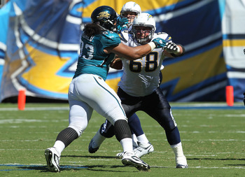 SAN DIEGO - SEPTEMBER 19:  Guard Kris Dielman #68 of the San Diego Chargers blocks against defensive tackle Tyson Alualu #93 of the Jacksonville Jaguars at Qualcomm Stadium on September 19, 2010 in San Diego, California.   The Chargers won 38-13.  (Photo