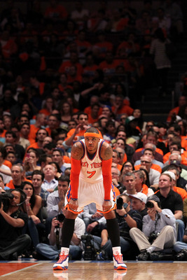 NEW YORK, NY - APRIL 24:  Carmelo Anthony #7 of the New York Knicks looks on against the Boston Celtics in Game Four of the Eastern Conference Quarterfinals during the 2011 NBA Playoffs on April 24, 2011 at Madison Square Garden in New York City. The Celt