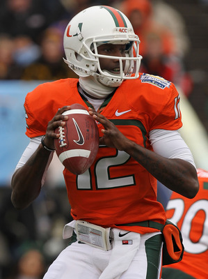 EL PASO, TX - DECEMBER 30:  Quarterback Jacory Harris #12 of the Miami Hurricanes throws against the Notre Dame Fighting Irish during the Hyundai Sun Bowl at Sun Bowl on December 30, 2010 in El Paso, Texas.  (Photo by Ronald Martinez/Getty Images)