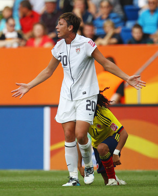 SINSHEIM, GERMANY - JULY 02: Abby Wambach of USA reacts during the FIFA Women's World Cup 2011 Group C match between USA and Colombia at the Fifa Womens World Cup Stadium on July 2, 2011 in Sinsheim, Germany.  (Photo by Alex Grimm/Getty Images)