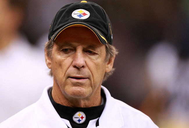 NEW ORLEANS - OCTOBER 31:  Defensive Co-ordinator Dick LeBeau of the Pittsburgh Steelers is seen on the sidelines before the game against the New Orleans Saints at Louisiana Superdome on October 31, 2010 in New Orleans, Louisiana.  The Saints won 20-10 ov