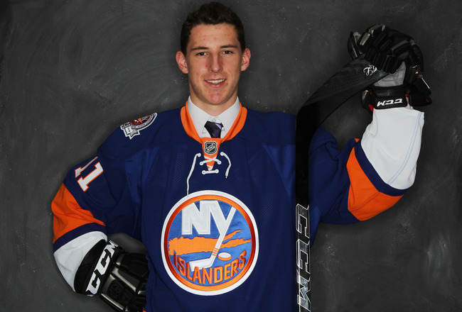 ST PAUL, MN - JUNE 24:  Fifth overall pick Ryan Strome by the New York Islanders  poses for a portrait during day one of the 2011 NHL Entry Draft at Xcel Energy Center on June 24, 2011 in St Paul, Minnesota. (EDITORS NOTE: Image has been digitally altered