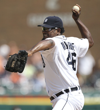 DETROIT - JULY 03:  Jose Valverde #46 of the Detroit Tigers pitches in the ninth inning during the game against the San Francisco Giants at Comerica Park on July 3, 2011 in Detroit, Michigan. The Tigers defeated the Giants 6-3.  (Photo by Leon Halip/Getty