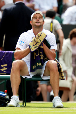 LONDON, ENGLAND - JUNE 24:  Andy Roddick of the United States shows emotion during his third round match against Feliciano Lopez of Spain on Day Five of the Wimbledon Lawn Tennis Championships at the All England Lawn Tennis and Croquet Club on June 24, 20