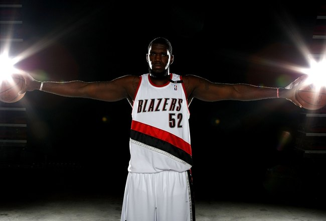 PORTLAND, OR - SEPTEMBER 29:  Greg Oden #52 of the Portland Trail Blazers poses for a portrait during Media Day for the Portland Trail Blazers at the Rose Garden on September 29, 2008 in Portland, Oregon.  NOTE TO USER: User expressly acknowledges and agr