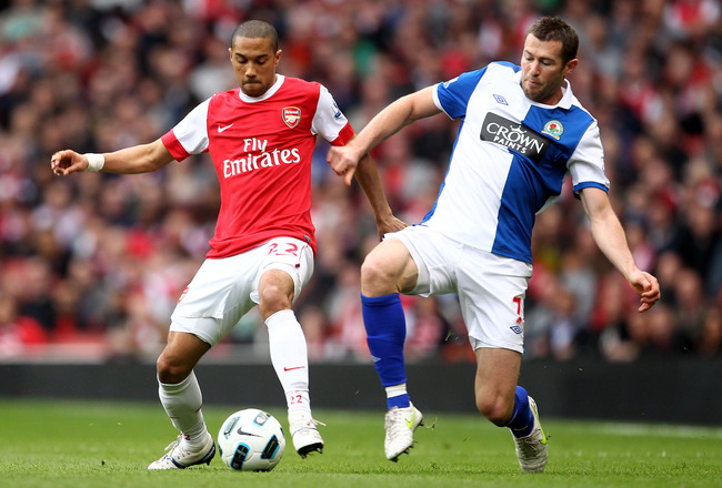 LONDON, ENGLAND - APRIL 02:  Brett Emerton of Blackburn challenges Gael Clichy of Arsenal during the Barclays Premier League match between Arsenal and Blackburn Rovers at the Emirates Stadium on April 2, 2011 in London, England.  (Photo by Julian Finney/G