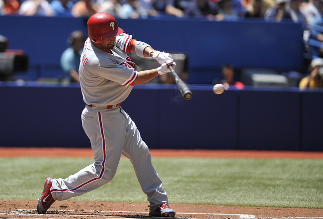 TORONTO, CANADA - JULY 1:  Shane Victorino #8 of the Philadelphia Phillies bats during MLB interleague game action against the Toronto Blue Jays July 1, 2011 at Rogers Centre in Toronto, Ontario, Canada. (Photo by Brad White/Getty Images)