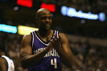 DALLAS - MAY 8:  Chris Webber #4 of the Sacramento Kings claps in Game two of the Western Conference Semifinals against the Dallas Mavericks during the 2003 NBA Playoffs at American Airlines Center on May 8, 2003 in Dallas, Texas.  The Mavericks won 132-1
