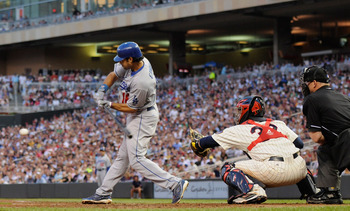 MINNEAPOLIS, MN - JUNE 28: Andre Ethier #16 of the Los Angeles Dodgers hits a two RBI single against the Minnesota Twins in the fifth inning on June 28, 2011 at Target Field in Minneapolis, Minnesota. (Photo by Hannah Foslien/Getty Images)