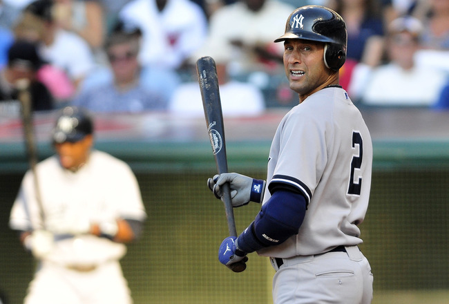 CLEVELAND, OH - JULY 4: Derek Jeter #2 of the New York Yankees at bat during the third inning against the Cleveland Indians  at Progressive Field on July 4, 2011 in Cleveland, Ohio. (Photo by Jason Miller/Getty Images)