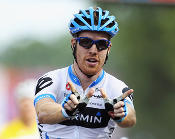 REDON, FRANCE - JULY 04:  Tyler Farrar of the USA and Garmin-Cervelo celebrates winning stage three of the 2011 Tour de France from Olonne-sur-Mer to Redon on July 4, 2011 in Redon, France.  (Photo by Bryn Lennon/Getty Images)