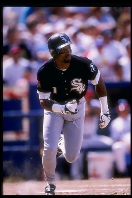 7 Aug 1994: Outfielder Lance Johnson of the Chicago White Sox in action during a game against the California Angels at Anaheim Stadium in Anaheim, California..
