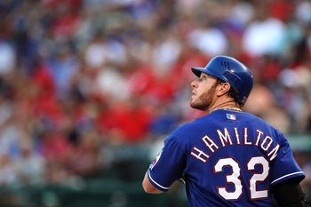 ARLINGTON, TX - JUNE 24:  Josh Hamilton #32 of the Texas Rangers at Rangers Ballpark in Arlington on June 24, 2011 in Arlington, Texas.  (Photo by Ronald Martinez/Getty Images)