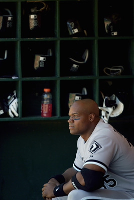 OAKLAND, CA - JULY 3:  Frank Thomas #35 of the Chicago White Sox sits in the dugout during the game with the Oakland Athletics at McAfee Coliseum on July 3, 2005 in Oakland, California. The A's  won 7-2. (Photo by Jed Jacobsohn/Getty Images)