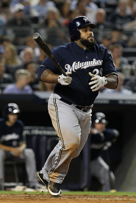 NEW YORK, NY - JUNE 29:  Prince Fielder #28 of the Milwaukee Brewers in action against the New York Yankees during their game on June 29, 2011 at Yankee Stadium in the Bronx borough of New York City.  (Photo by Al Bello/Getty Images)