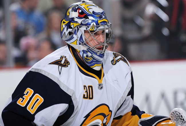 PITTSBURGH - FEBRUARY 1:  Goaltender Ryan Miller #30 of the Buffalo Sabres guards the net against the Pittsburgh Penguins on February 1, 2010 at Mellon Arena in Pittsburgh, Pennsylvania.  (Photo by Jamie Sabau/Getty Images)