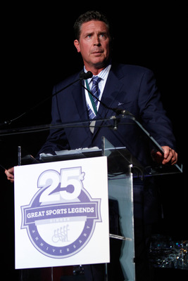 NEW YORK - SEPTEMBER 27:  Former NFL player and 2010 honoree Dan Marino speaks during the 25th Great Sports Legends Dinner to benefit The Buoniconti Fund to Cure Paralysis at The Waldorf=Astoria on September 27, 2010 in New York City.  (Photo by Thos Robi