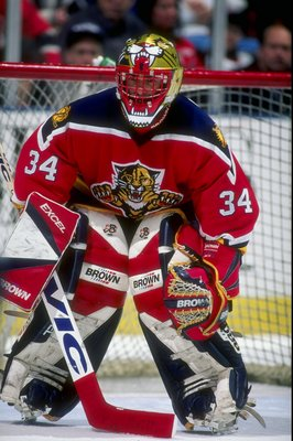 7 Feb 1997:  Goaltender John Vanbiesbrouck of the Florida Panthers in action during a game against the New Jersey Devils at the Continental Airlines Arena in East Rutherford, New Jersey.  The game ended in a tie, 2-2. Mandatory Credit: Al Bello  /Allsport