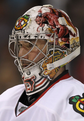 DALLAS, TX - FEBRUARY 11:  Goaltender Marty Turco #30 of the Chicago Blackhawks in goal against the Dallas Stas at American Airlines Center on February 11, 2011 in Dallas, Texas.  (Photo by Ronald Martinez/Getty Images)