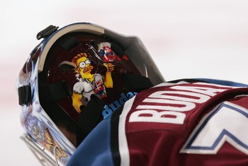 DENVER - OCTOBER 23:  A detailed view of the mask of backup goaltender Peter Budaj #31 of the Colorado Avalanche prior to NHL game action against the Los Angeles Kings on October 23, 2006 at the Pepsi Center in Denver, Colorado.  The Avalanche defeated th
