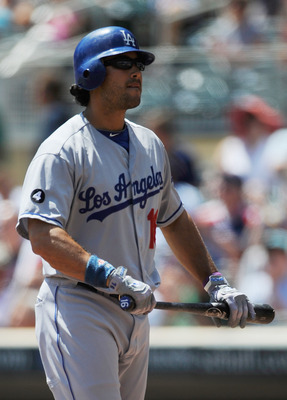 MINNEAPOLIS, MN - JUNE 29: Andre Ethier #16 of the Los Angeles Dodgers reacts to striking out against the Minnesota Twins in the first inning on June 29, 2011 at Target Field in Minneapolis, Minnesota. (Photo by Hannah Foslien/Getty Images)