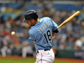ST. PETERSBURG, FL - JULY 3:  Infielder Ben Zobrist #18 of the Tampa Bay Rays bats against the St. Louis Cardinals July 3, 2011 at Tropicana Field in St. Petersburg, Florida.  (Photo by Al Messerschmidt/Getty Images)