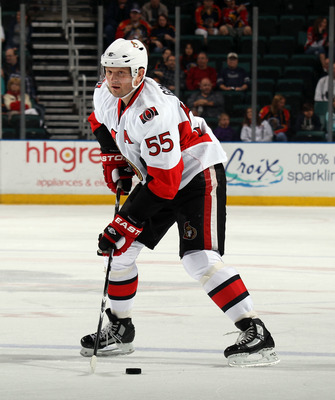 SUNRISE, FL - MARCH 10:  Sergei Gonchar #55 of the Ottawa Senators skates against the Florida Panthers at the BankAtlantic Center on March 10, 2011 in Sunrise, Florida.  (Photo by Bruce Bennett/Getty Images)