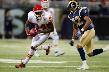 ST. LOUIS, MO - DECEMBER 19: Chris Chambers #84 of the Kansas City Chiefs looks to get past Bradley Fletcher #32 of the St. Louis Rams after making a catch at the Edward Jones Dome on December 19, 2010 in St. Louis, Missouri.  The Chiefs beat the Rams 27-