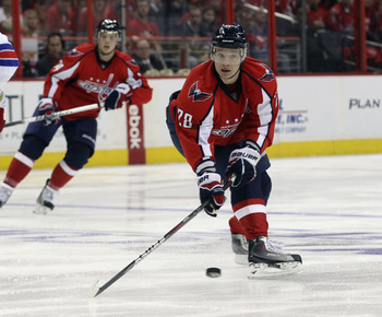 WASHINGTON, DC - APRIL 13: Alexander Semin #28 of the Washington Capitals skates against the New York Rangers in Game One of the Eastern Conference Quarterfinals during the 2011 NHL Stanley Cup Playoffs at Verizon Center on April 13, 2011 in Washington, D