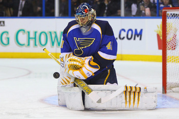 ST. LOUIS, MO - MARCH 29: Jaroslav Halak #41 of the St. Louis Blues makes a save against the Minnesota Wild at the Scottrade Center on March 29, 2011 in St. Louis, Missouri.  (Photo by Dilip Vishwanat/Getty Images)