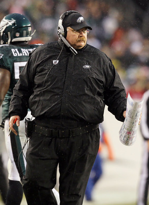 PHILADELPHIA, PA - JANUARY 02:  Head coach Andy Reid of the Philadelphia Eagles looks on against the Dallas Cowboys on January 2, 2011 at Lincoln Financial Field in Philadelphia, Pennsylvania. The Cowboys defeated the Eagles 14-13.  (Photo by Jim McIsaac/