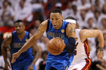 MIAMI, FL - JUNE 02:  Shawn Marion #0 of the Dallas Mavericks pushes the ball up court against the Miami Heat in Game Two of the 2011 NBA Finals at American Airlines Arena on June 2, 2011 in Miami, Florida. NOTE TO USER: User expressly acknowledges and ag