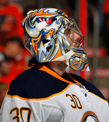 PHILADELPHIA, PA - APRIL 16:  Goalie Ryan Miller #30 of the Buffalo Sabres looks up during a break in action against the Philadelphia Flyers in Game Two of the Eastern Conference Quarterfinals during the 2011 NHL Stanley Cup Playoffs at Wells Fargo Center