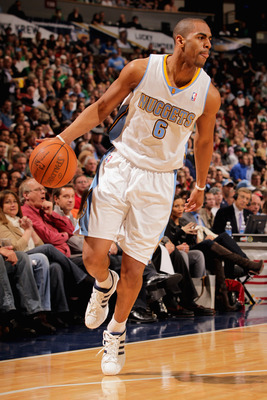 DENVER, CO - FEBRUARY 24:  Arron Afflalo #6 of the Denver Nuggets conttrols the ball against the Boston Celtics during NBA action at the Pepsi Center on February 24, 2011 in Denver, Colorado. The Nuggets defeated the Celtics 89-75. NOTE TO USER: User expr