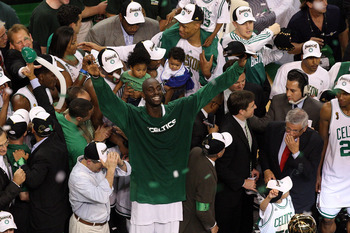BOSTON - JUNE 17:  Kevin Garnett #5 of the Boston Celtics celebrates after defeating the Los Angeles Lakers in Game Six of the 2008 NBA Finals on June 17, 2008 at TD Banknorth Garden in Boston, Massachusetts. NOTE TO USER: User expressly acknowledges and