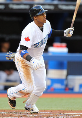 TORONTO, CANADA - JUNE 29:  Yunel Escobar #5 of the Toronto Blue Jays bats against the Pittsburgh Pirates in an MLB interleague game on June 29, 2011 at the Rogers Centre in Toronto, Canada. (Photo by Claus Andersen/Getty Images)