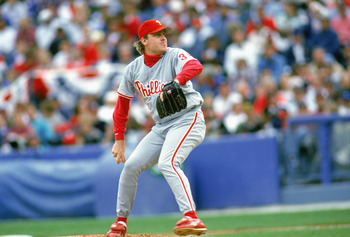 ATLANTA - OCTOBER 11:  Curt Schilling #38 of the Philadelphia Phillies pitches during Game five of the 1993 National League Championship Series against the Atlanta Braves at Atlanta-Fulton County Stadium on October 11, 1993 in Atlanta, Georgia. The Philli