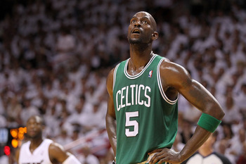 MIAMI, FL - MAY 01:  Kevin Garnett #5  of the Boston Celtics looks on  during game one of the Eastern Conference Semifinals of the 2011 NBA Playoffs against the Miami Heat at American Airlines Arena on May 1, 2011 in Miami, Florida. NOTE TO USER: User exp