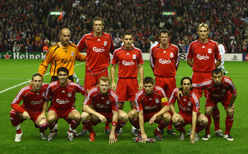 LIVERPOOL, UNITED KINGDOM - NOVEMBER 06:  The Liverpool players line up for a team photo prior to the UEFA Champions League Group A match between Liverpool and Besiktas at Anfield on November 6, 2007 in Liverpool, England.  (Photo by Laurence Griffiths/Ge